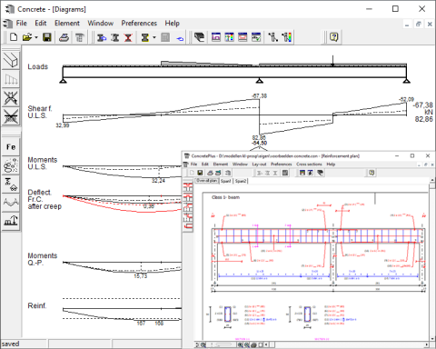 ConCrete and ConCrete Plus beam reinforcement analysis software